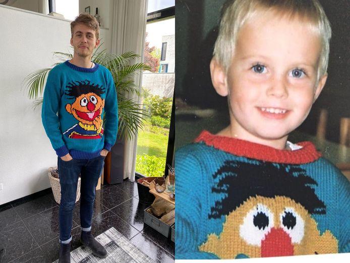 Petra Emmens (55) breide opnieuw een Ernie-trui voor zoon Geert