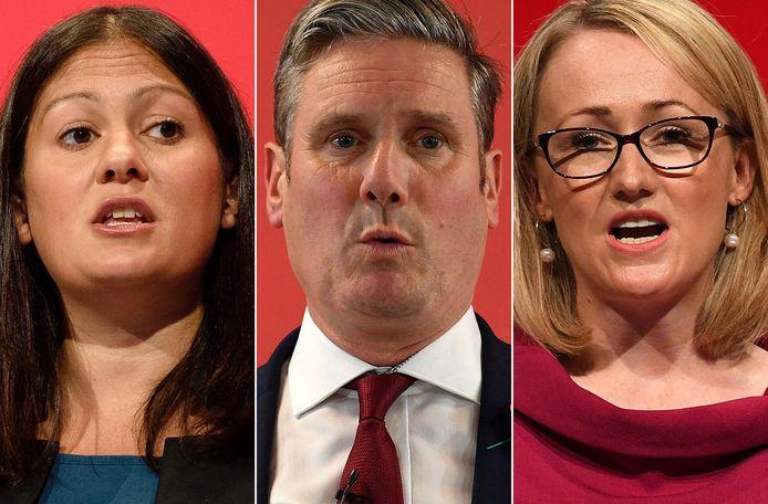 De drie kandidaten om Jeremy Corbyn op te volgen als partijleider van Labour: Lisa Nandy (links), Keir Starmer (midden) en Rebecca Long-Bailey (rechts)
