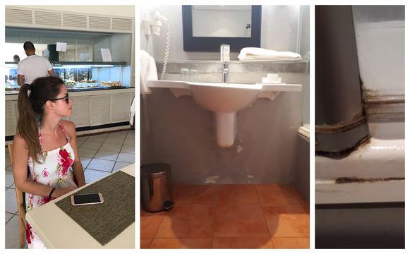 Els in het hotel waar ze nu zitten en beelden van hun badkamer. Niet bepaald de luxe waar Roel en Els voor hebben betaald, al is het koppel wel dankbaar dat ze er kunnen blijven.