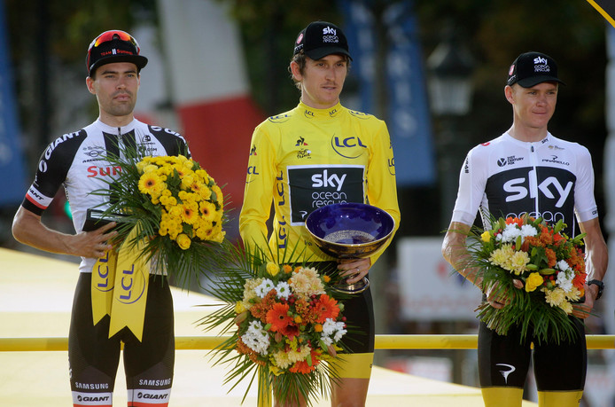 Tom Dumoulin eindigde dit jaar als tweede in de Tour, achter Geraint Thomas en vóór Chris Froome.