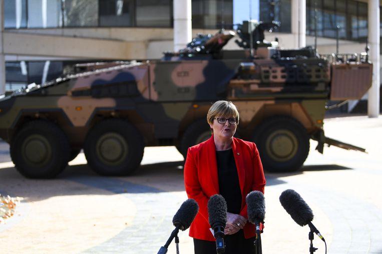 De Australische defensieminister Linda Reynolds op maandag 1 juli bij de presentatie van de plannen. Beeld EPA