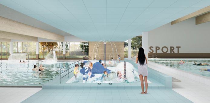 Het peuterbad, met allerlei recreatieve elementen, vormt een schakel tussen het 25-meterbad (rechts) en het instructiebad (links).