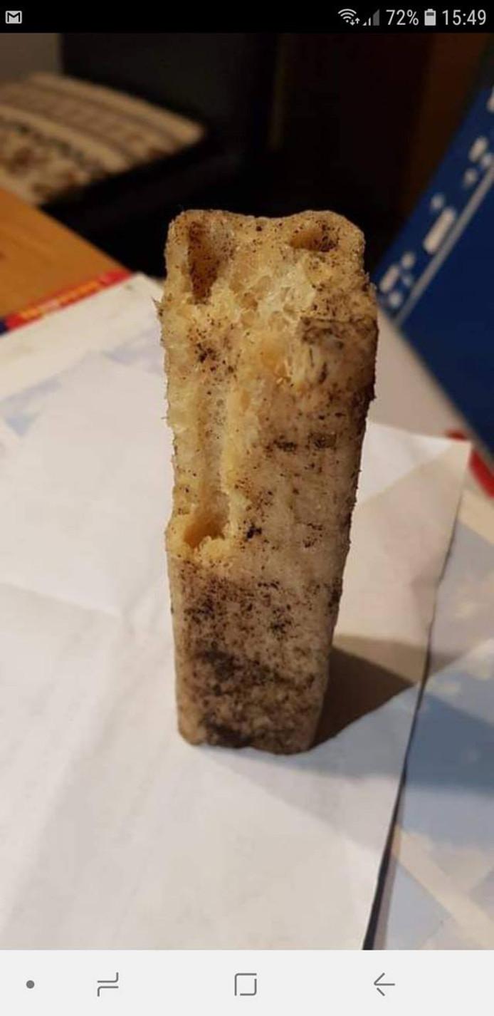 De spons die werd aangetroffen.