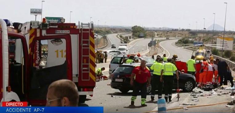 Het fatale ongeval nabij Alicante. Beeld © Screenshot RTVE