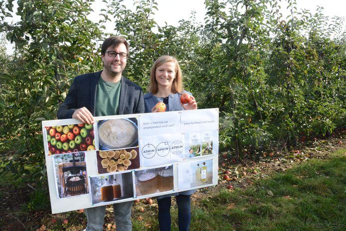 Toon en Laura zijn de bedenkers van Azwijn, azijn gemaakt met lokaal geteelde appels.