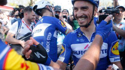"""Drie keer op drie podium voor Alaphilippe die nu wel raak schiet: """"Ik wist niet dat ik had gewonnen. Ik dacht dat Nibali nog vooraan zat"""""""