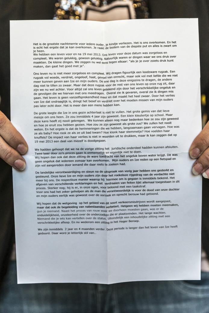 De verklaring die tijdens de rechtszaak door Moniek Hanssen werd voorgelezen. Lees de volledige verklaring onder het bericht.