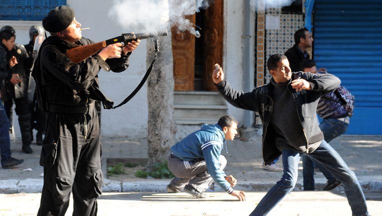 Protesten in Tunis na de moord op oppositielid Chokri Belaid in februari 2013.