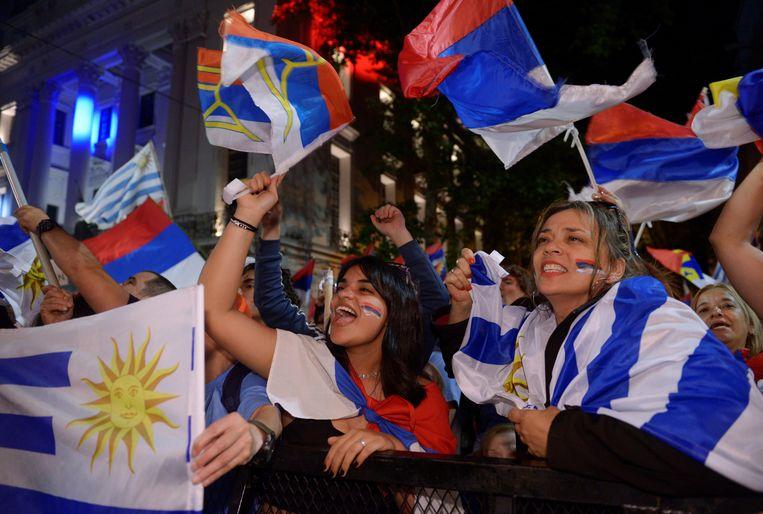 Aanhangers van Daniel Martinez in Montevideo.
