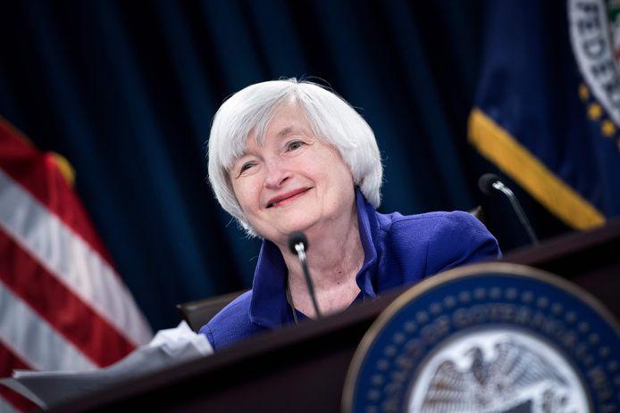 Janet Yellen in december 2017 tijdens een briefing van de Amerikaanse centrale bank, de Fed, die ze tussen 2014 en 2018 leidde.