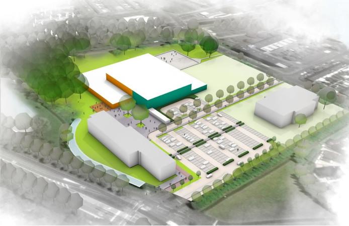 Het ontwerp van het Talentencentrum met Atletiekbaan.