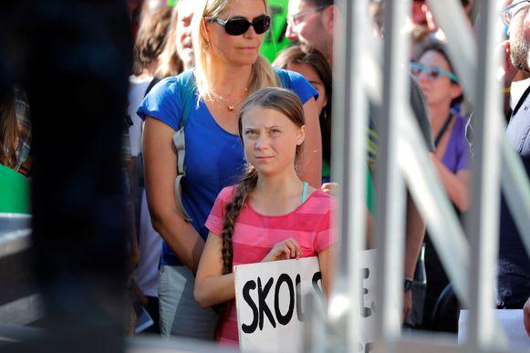 Malena Ernman, vorige week in New York, met haar 16-jarige dochter Greta Thunberg.