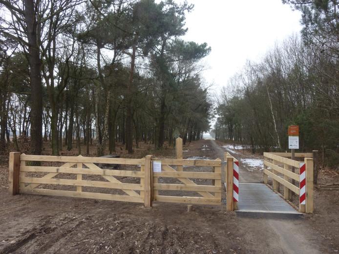 Een toegangspoort tot het begrazingsgebied in de Maashorst.