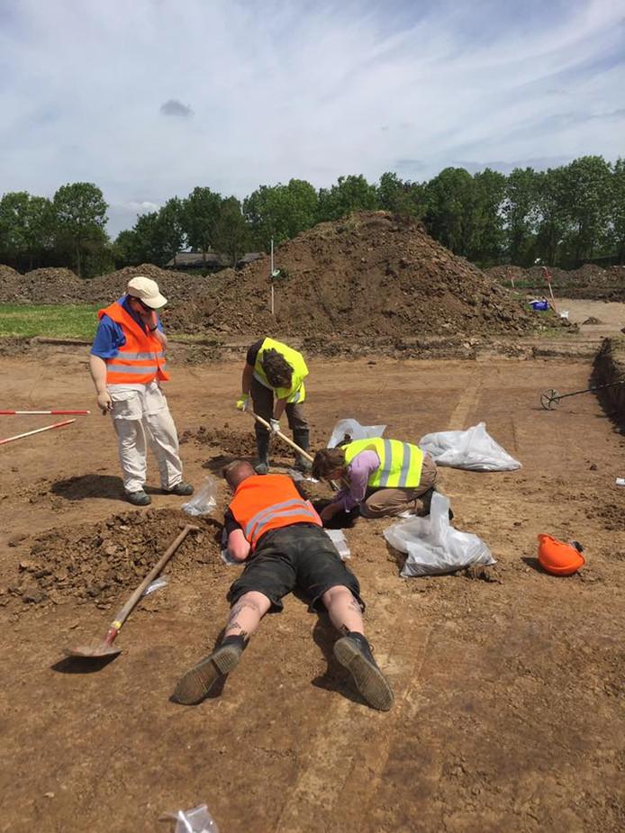 Medewerkers Amersfoortse ADC Archeoprojecten in Odijk op zoek naar Romeinse graven en een verdwenen middeleeuwse verdedigingstoren. Ze worden bijgestaan door vrijwilligers uit vooral Utrecht, Driebergen en Zeist.