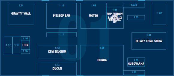 Paleis 1: Belaey Trial Show - Can-Am Spyder - Can-Am Offroad - Ducati - Dunlop - Evinrude - Expo Oldtimers - Fersie - Fleet - Gravity Wall - Honda - Husqvarna - KTM Belgium - Peugeot - Pitstop Bar - Sea-Doo - Suzuki - Sym - Thin - WRC Moto Simulator