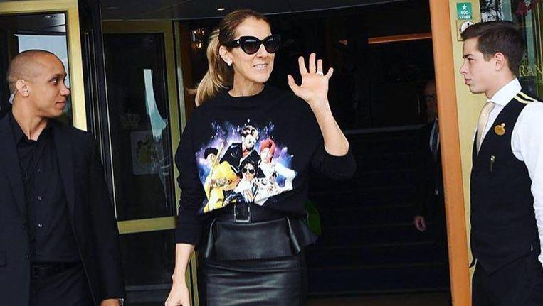 Céline Dion in een sweater van Filles A Papa.