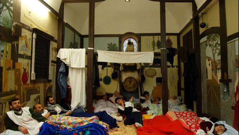 Ook in 2005 bezetten Koerdische asielzoekers de Miniemenkerk. (archieffoto)