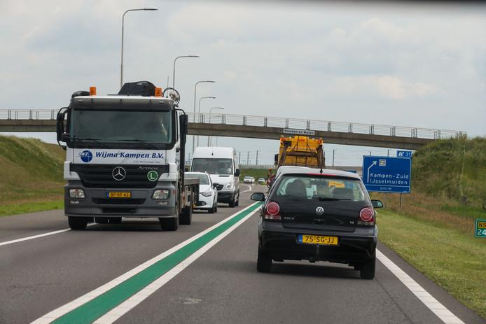 De N50 tussen Kampen Centrum en Kampen Zuid.