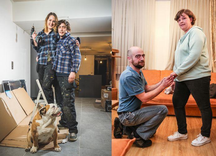 Links: An De Corte (30) en Sebastiaan De Vreeze (30), Rechts: Gregory Deschaeck (45) en Wendy De Craemer (40)