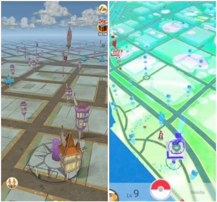 Links: de kaart van Wizards Unite. Rechts: die van Pokémon Go.