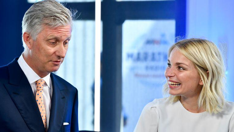 Julie Van den Steen mocht tijdens de Marathonradio van MNM de Belgische vorst koning Filip ontvangen.