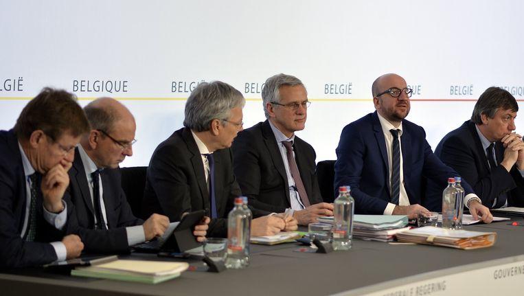 De federale regering op de persconferentie na de ministerraad.
