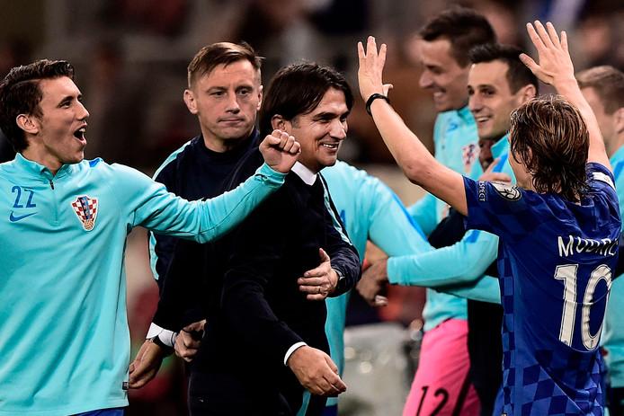 Zlatko Dalic viert met zijn team het behalen van het WK in Rusland.