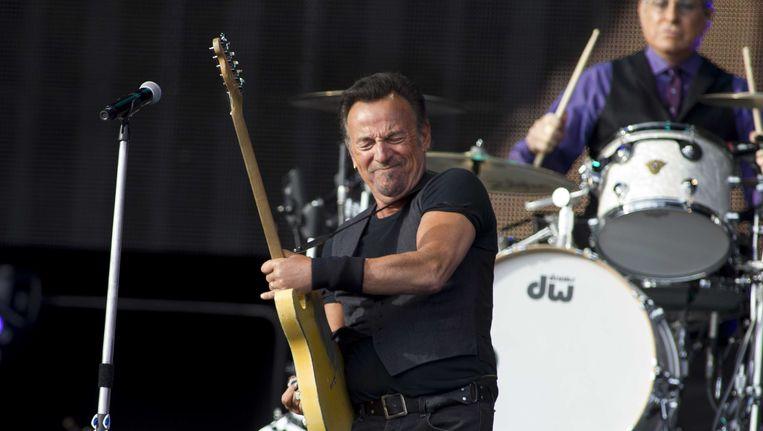 Bruce Springsteen in actie in Den Haag. Hij speelde 3,5 uur. Beeld ANP