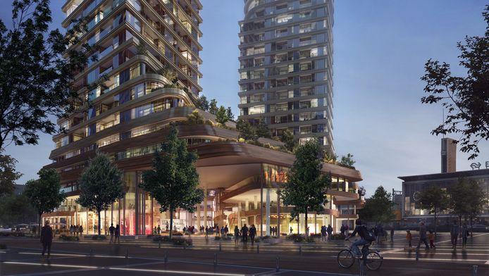 'ZUS | Zones Urbaines Sensibles' . Impressie van het plan District E van projectontwikkelaar/belegger Amvest en bureau Powerhouse Company voor het Stationsplein in Eindhoven.