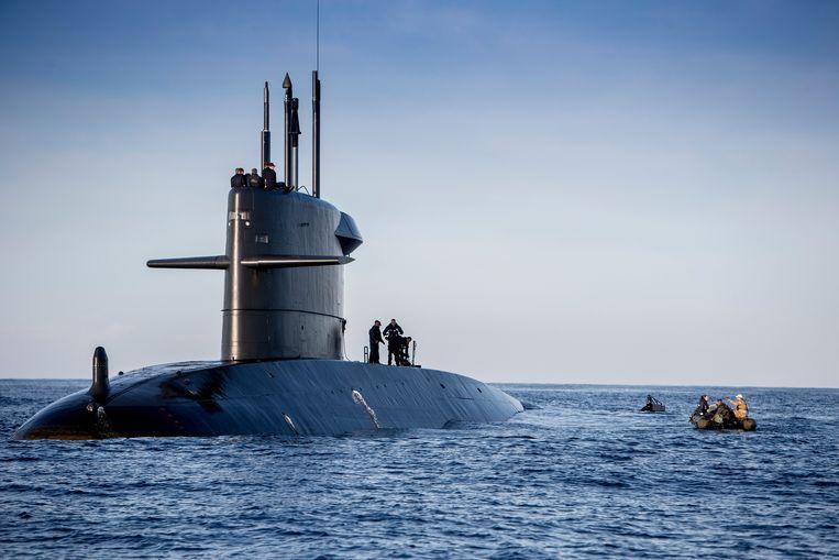 De Nederlandse onderzeeër Bruinvis voor de kust van Cadiz. Beeld Defensie / Maartje Roos