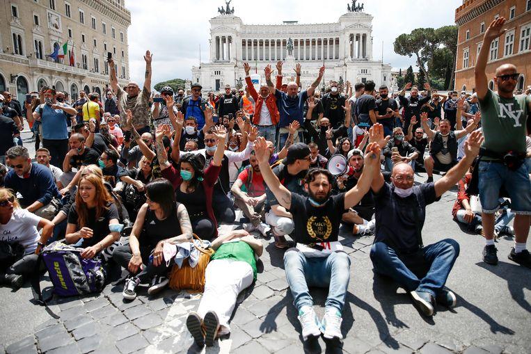 Beelden van het protest in Rome.
