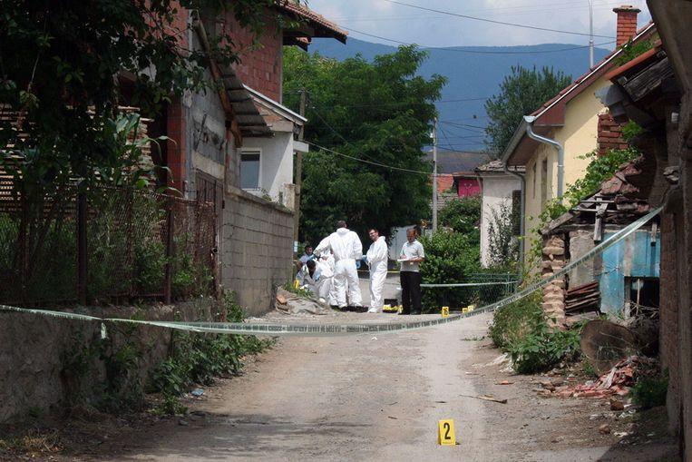 De plek waar eerder in de week een beschieting in Kosovo plaatsvond (AFP) Beeld AFP