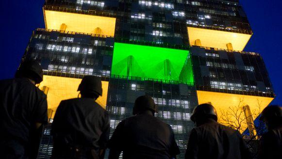 Oproerpolitie maandag voor het kantoor van Petrobras, waar demonstranten op de been waren om te protesteren tegen de veiling van het Libra-olieveld.