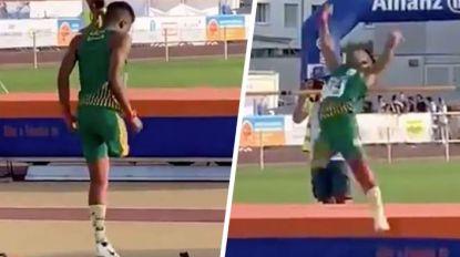 Jonge hoogspringer op één been laat wereldwijd alle harten smelten