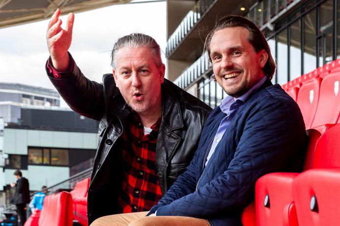 Evert van der Zouw (44, links) en Daniel M. van Doorn (33), auteurs van het boek Utrecht Hooligans, over 50 jaar voetbalgeweld.