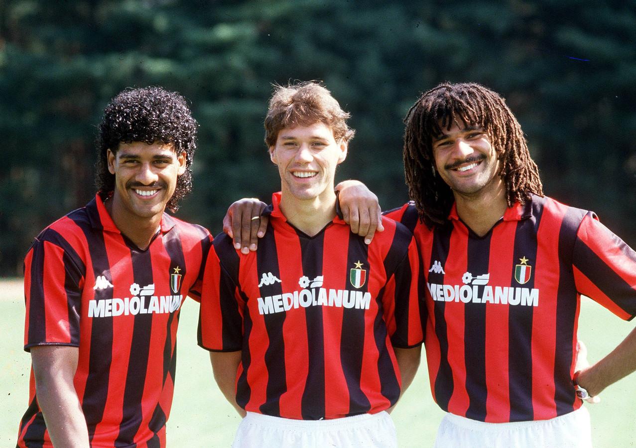 De Nederlandse sterren van AC Milan in de jaren '80, met v.l.n.r.: Frank Rijkaard, Marco van Basten en Ruud Gullit.