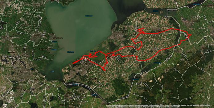 De route die zeearend Jannie van de Lepelaarsplassen aflegde naar Kampen.