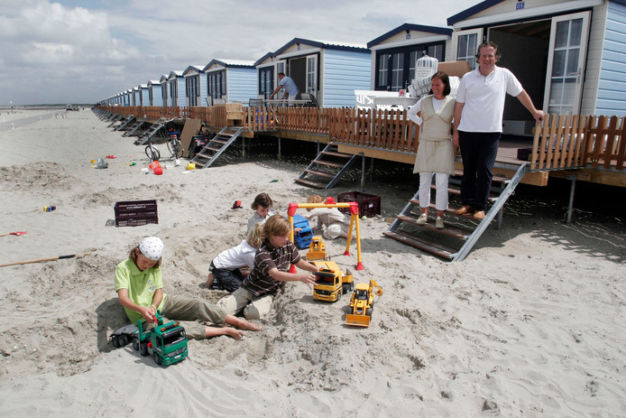 Foto ter illustratie, strandhuisjes in Hoek van Holland.