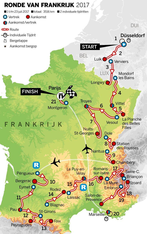 Het etappeoverzicht van de Tour de France 2017. Beeld de Volkskrant