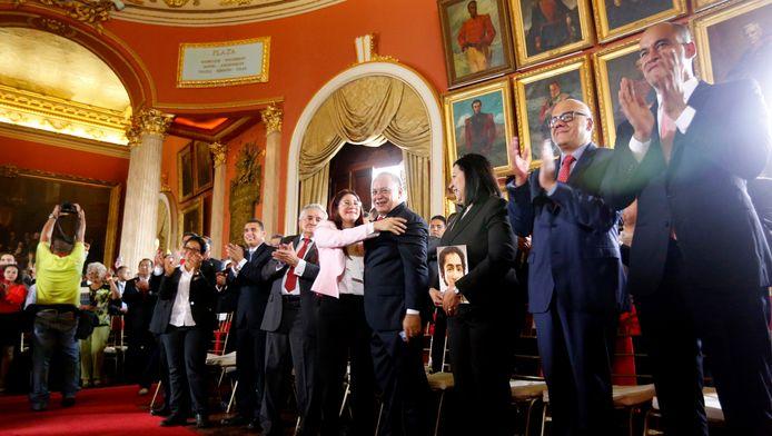 De constituante kwam bij elkaar in een aparte zaal in het parlementsgebouw in Caracas.