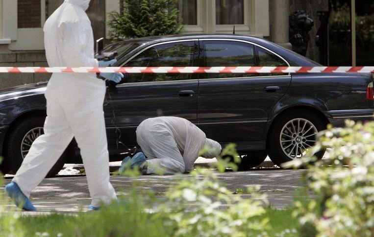 Vastgoedmagnaat Willem Endstra werd in mei 2005 voor zijn kantoor aan de Apollolaan vermoord. Beeld anp