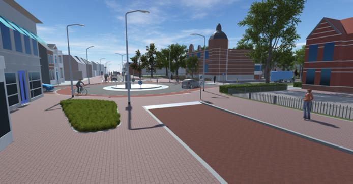 De Molenstraat wordt vanaf de rotonde richting centrum een stuk smaller.