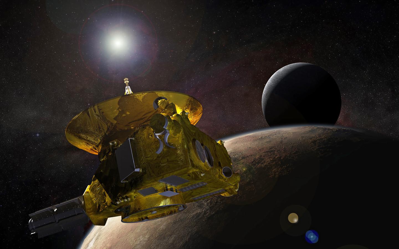 Een NASA-illustratie van de ruimtesonde New Horizons, die al jaren door de buitenste gebieden van ons zonnestelsel vliegt. Na Pluto in 2015, komt hij op Nieuwjaarsdag bij zijn volgende bestemming: de ruimterots Ultima Thule.