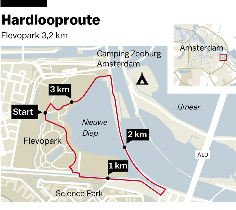 Het eerste rondje is 3,2 kilometer lang. Beeld Laura van der Bijl