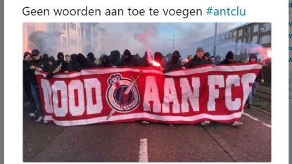Politie voert onderzoek naar gemaskerde Antwerpfans met 'Dood aan FCB'-spandoek