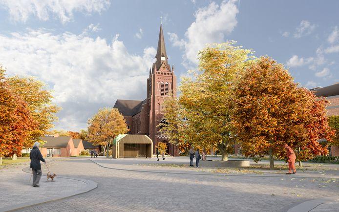 De eerste beoogde blikvanger op het nieuwe Mgr. Bekkersplein in Haaren: een kiosk of paviljoen geïnspireerd op de Haarense langgevelboerderijen. Het ontwerp is van Lydia Fraaije, maar zal niet gerealiseerd worden.