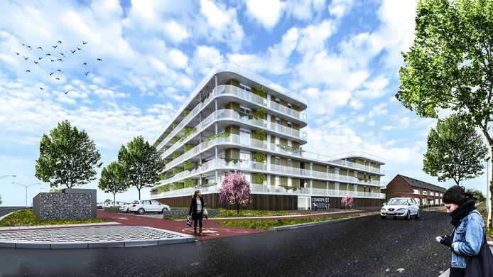 Artist impression Strandgaper, het nieuwe appartementencomplex dat in de nieuwbouwwijk De Markiezaten moet komen.