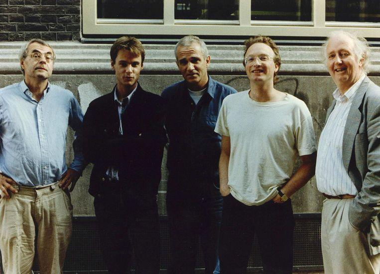 Enkele voormannen van nieuwe progressieve partijen poseren in 1993 voorafgaand aan een politiek debat. Tweede van links: Harry van Bommel. Beeld anp