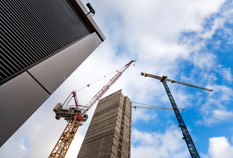 De bouwlocatie aan de Zuidas waar een kantoor voor het geneesmiddelenbureau Europees Geneesmiddelen Agentschap (EMA) wordt gebouwd. Beeld ANP