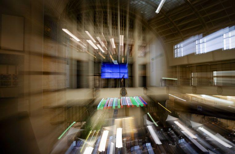 De Amsterdamse aandelenbeurs. De vrees voor een economische recessie zorgen voor grote onrust op de financiele markten.  Beeld ANP, Robin van Lonkhuijsen